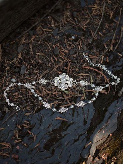 Silver bridal anklet Chic set
