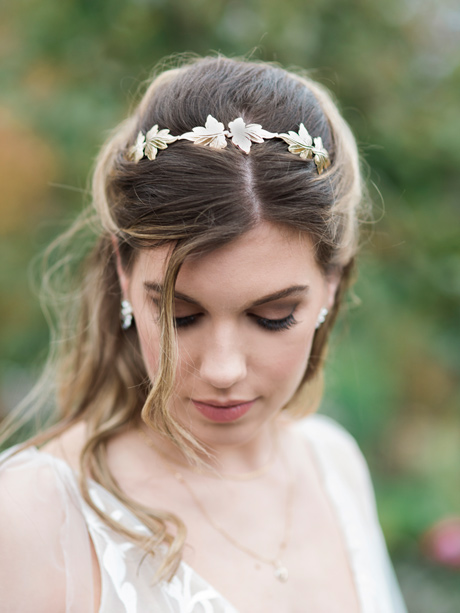 Ivy bridal headbands gold