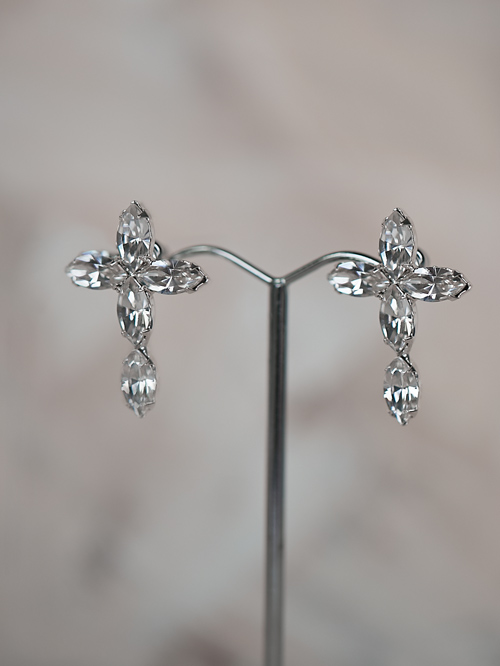 Cross bridal earrings