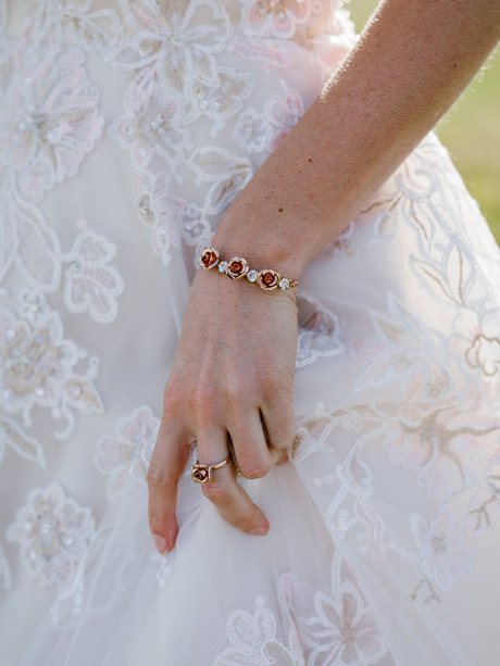Bride wearing Melbourne wedding bracelets