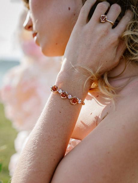 Bride wearing Rose gold bracelets
