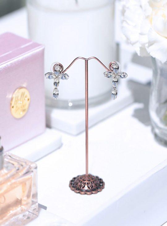 cross wedding earrings in silver