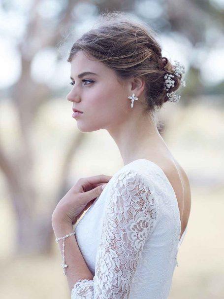 Silver faith religious cross earrings