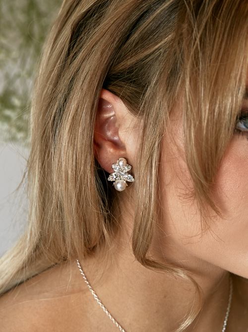 Silver wedding stud earrings Bendigo