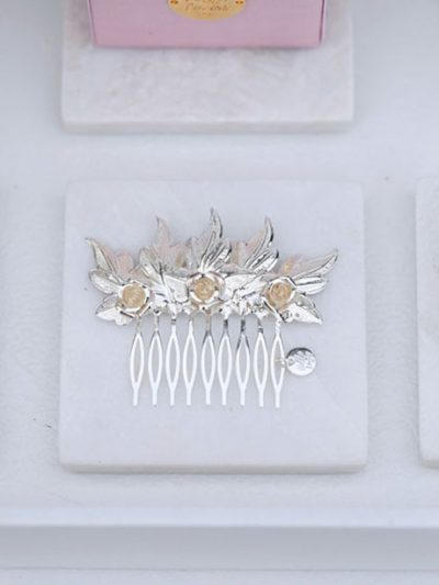 Wedding hair comb in Silver lux