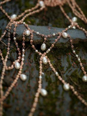shoulder necklaces in rose gold