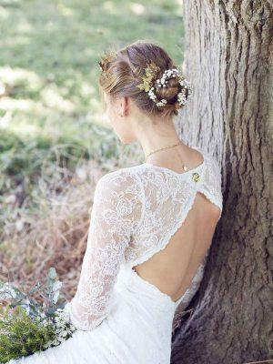 lace vintage wedding dress back