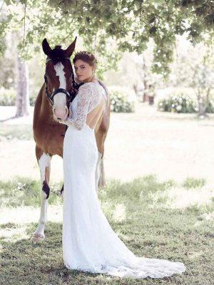 Vintage wedding dress lace back
