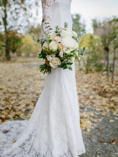 close up of Lace wedding dress