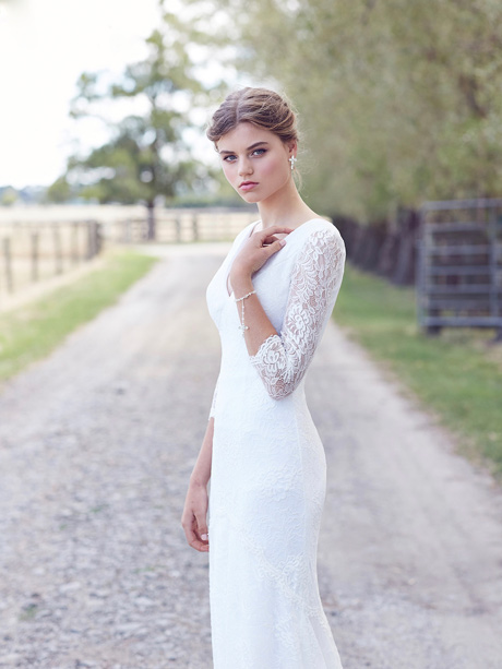 Long sleeve Boho style wedding dresses