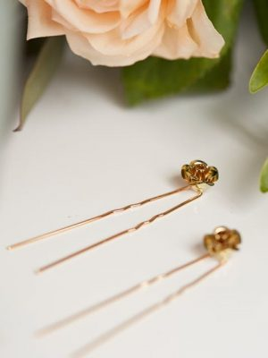 Gold flower hair pins