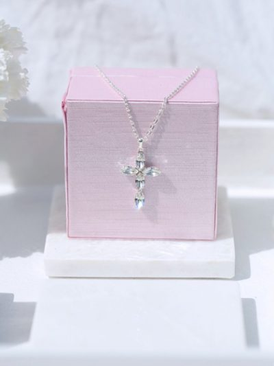 Communion or bridal cross necklace