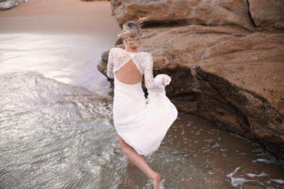 boho wedding dress at the beach