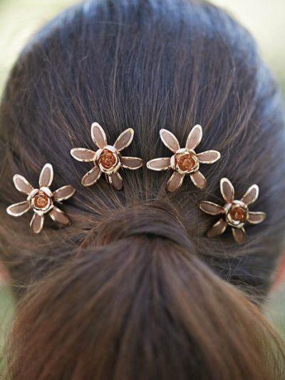Bride wearing flower hair piece