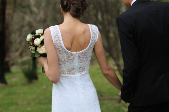 back of Canberra lace wedding dresses