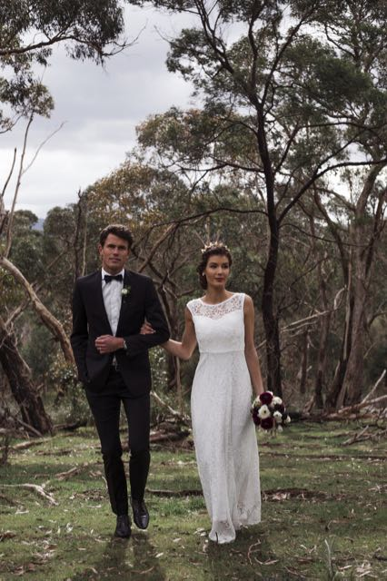 Canberra lace wedding dresses in bushland