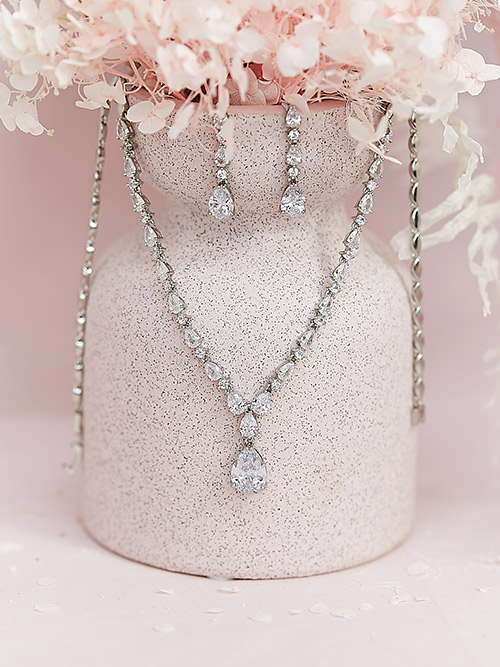 Silver little chandelier necklace and earrings