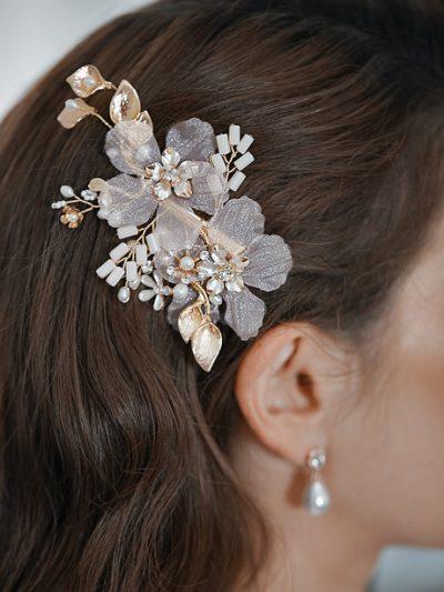 Blush wedding hair comb