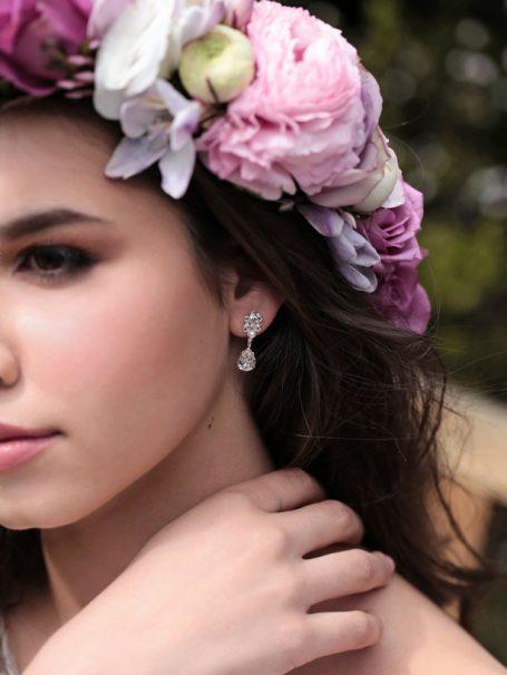 Bride wearing Crystal drop earrings