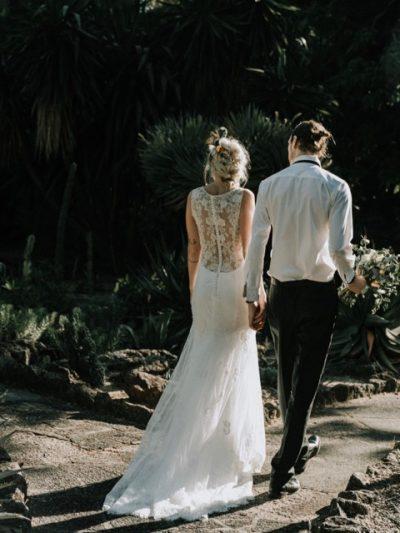 lace back bohemian wedding dress