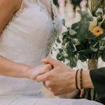 Bead work on rosebud bohemian wedding dress