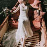 Bohemian bride in a boat