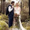 Bohemian dress in forest wedding