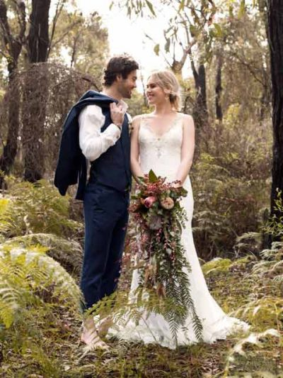 Bohemian dress in forest wedding