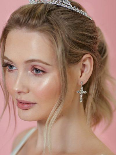 Cross wedding earrings