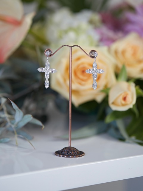 Drop wedding earrings cross design