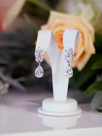 Teardrop wedding earrings silver