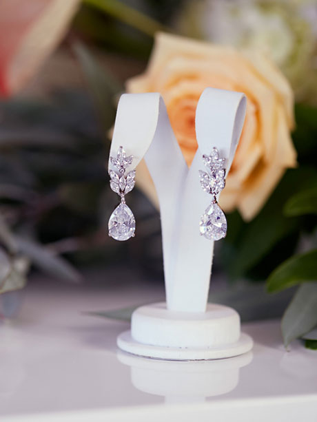 Teardrop wedding earrings silver