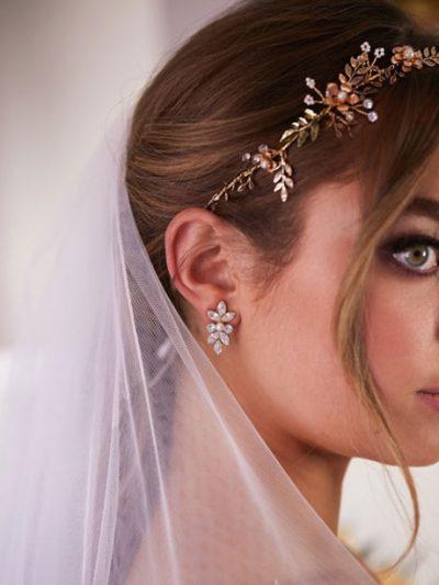 Wedding hair vines gold