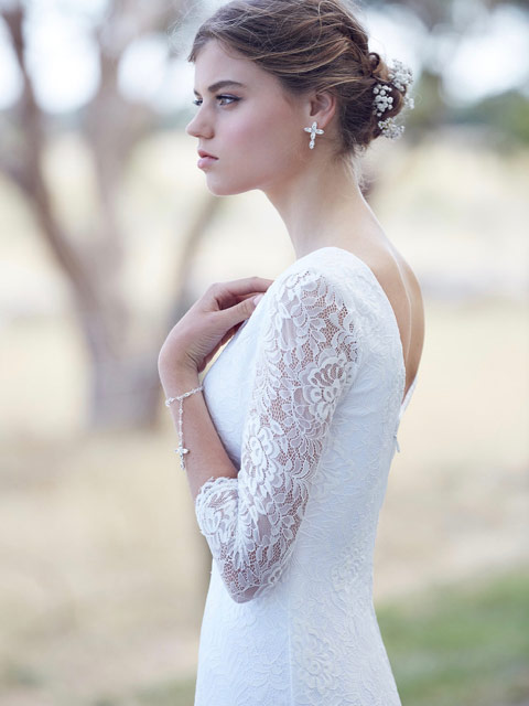 Broome lace wedding dresses with sleeves