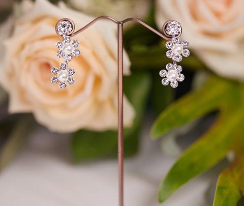 Silver posy wedding earrings