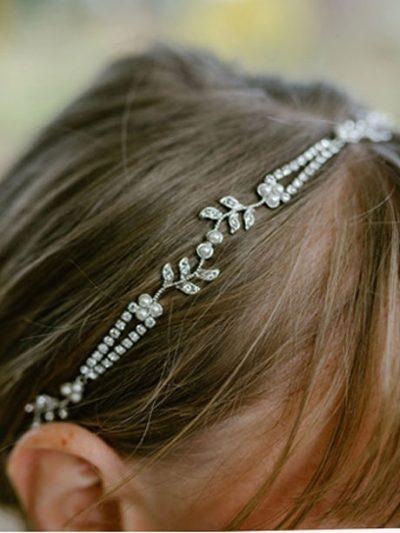 Silver wedding headband