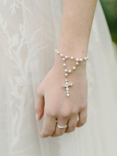 Pearl rosary religious cross bracelet