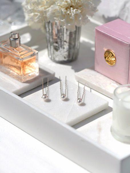Silver and pearl hair pins