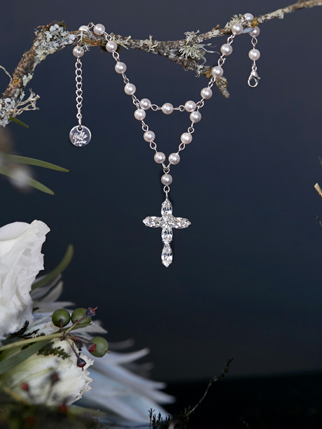 wedding rosary bracelet cross