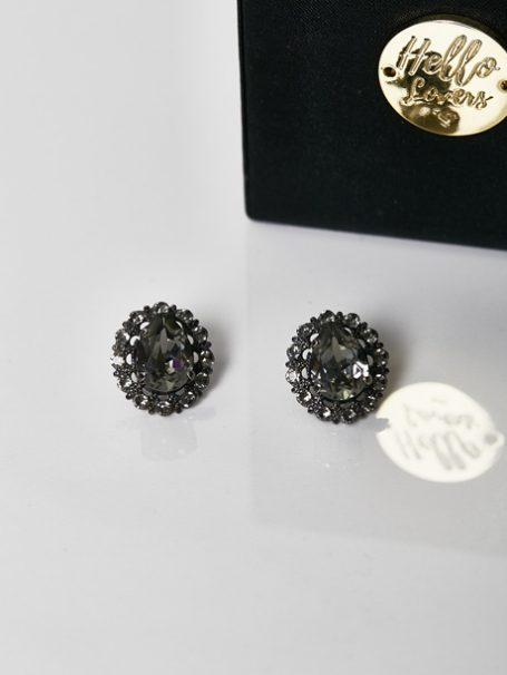 Black bridal earrings