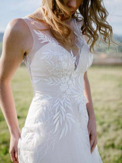 Bodice close up of Erica beach wedding dress