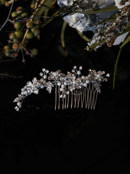 Silver flower Emma hair comb