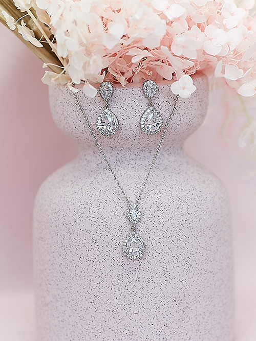 Drop wedding necklace Silver Set