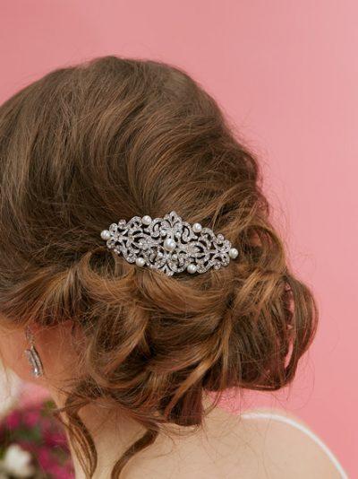 Bride wearing Paris wedding hair comb