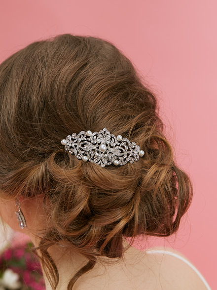 Bride wearing Paris wedding hair comb