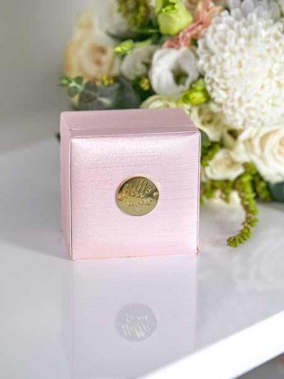 Pink drop bridal earrings box
