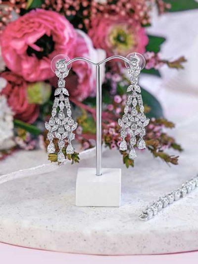 Silver chandelier wedding earrings