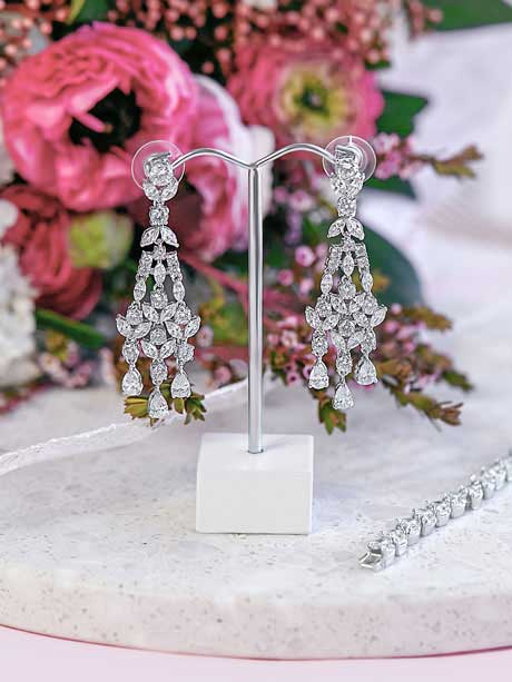Silver chandelier wedding earrings