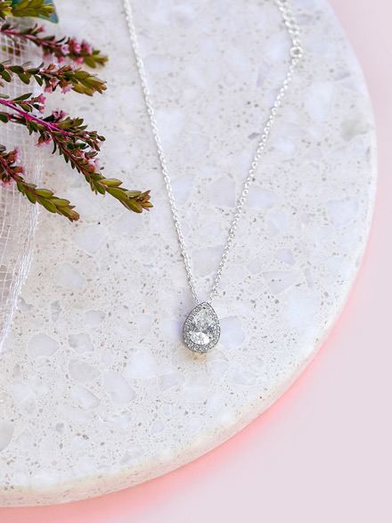 Tear drop wedding pendant