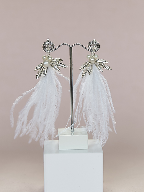 White feather tassel earrings